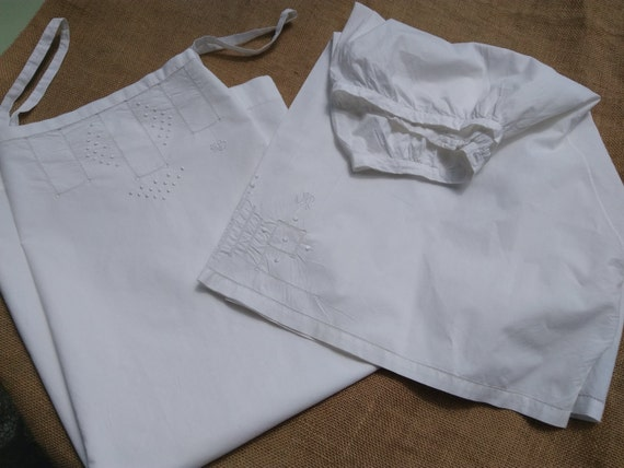 Victorian White Lingerie Set Slip and Short Hand Embroidered Dots Monogram Cut Works Handmade French Cotton Slip Medium #SophieLadyDeParis