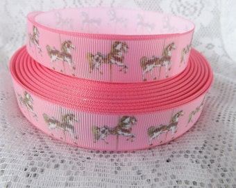 carousel ribbon Merry go round grosgrain ribbon 7/8 Grosgrain ribbon carousel horse ribbon