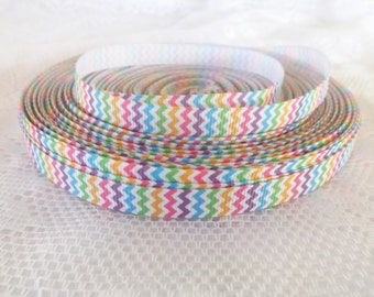 Rainbow striped ribbon chevron ribbon 3/8 rainbow chevron 9mm ribbon