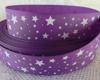 Purple Star ribbon 1 inch Purple star grosgrain ribbon 25mm star ribbon