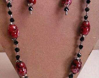 Handmade, Original Design Necklace & Earring Set - Red/Pink/Black/Silver