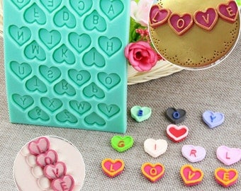 SALE Heart Alphabet Letter Tray Silicone Mold - CT-767 - Baking Fondant Candy Royal Icing Chocolate Gummy