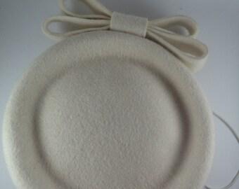 White felt pillbox