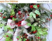Sale 25% OFF Christmas Wreath, Happy Holidays, Pine Wreath, Holiday Greetings
