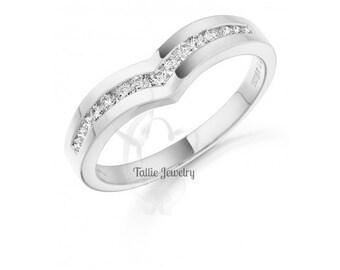 Diamond Eternity Rings, Womens 14K White Gold  Diamond Wedding Bands,Heart Shape Diamond Ring,Matching Wedding Rings