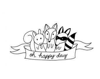 Fox Squirrel Raccoon Embroidery Pattern Printable Woodland Animal Digital Downloadable 0105