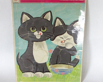 Two Kittens Puzzle Whitman PreSchool Frame Tray Cardboard Puzzle