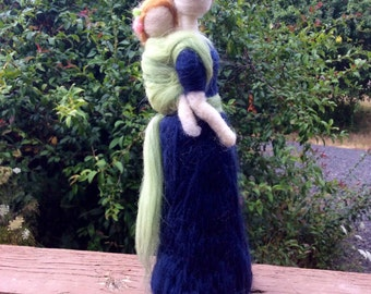 Ready to Ship! Needle Felted Babywearing Mother and Daughter