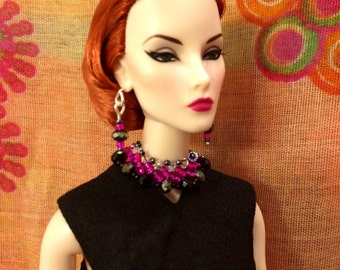"""Doll jewelry for barbie poppy parker fashion royalty beaded choker and earring set 12"""" and 16"""" dolls"""