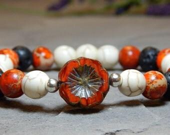 Orange Bracelet, Lava Bracelet, Tropical Bracelet, Hawaiian Bracelet, Beaded Bracelet, Boho Bracelet, Bohemian Bracelet, Hippie Bracelet
