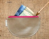 Change Agent MoneyBag, Brown Taupe Leather Coin Purse, Handcrafted Leather Zip Pouch, Credit Card Holder, Change Purse, Wallet