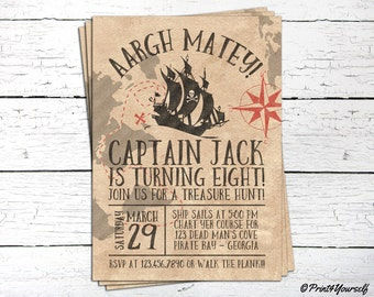 Pirate Invitation // Personalized Printable Old Paper Pirate Ship Birthday Invitation // Pirate Ship Invite // Pirate Party // Pirate Bash