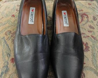 Vintage Black Pumps . 8 5W . I Love Comfort . Leather Pump . Low Heel