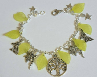 Woodland fairy themed charm bracelet - silver plated