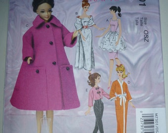 """McCall's 7301 - Barbie 11-1/2"""" Doll Clothes pattern - New Release"""
