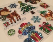 Christmas Holiday Animals - Foil Metallic Stickers