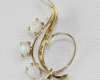 Solid White Opal Brooch