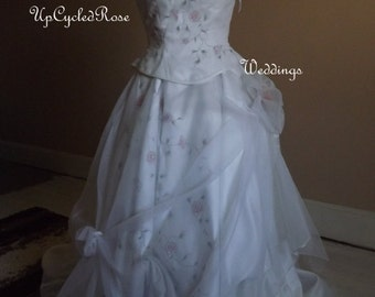 Up-cycled Wedding Gown Gypsy Chic Bohemian Shabby Couture Ready to Ship