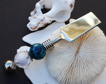 Boutique Style Beaded Deluxe Small Cheese Knife/Spreader Beaded in Agean Blue and White