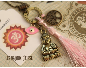 Sale - Buddha Necklace Yoga Pendant Pink Tassel and Evil Eye
