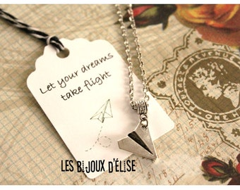 Paper Airplane Charm Necklace Aircraft Pendant Long Distance Relationship