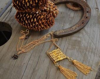Golden Stack Tassel Necklace