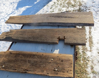 Three Pieces of Antique Salvaged Reclaimed Lumber With Amazing Weathered Texture