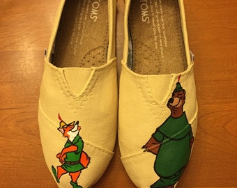 Robin Hood Toms (robin hood & little john) Painted Disney Shoes