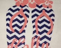 Navy Chevron and Coral Flip Flops and Flowers DECAL for Yeti Tumbler  With Name, Monogram or  Initials