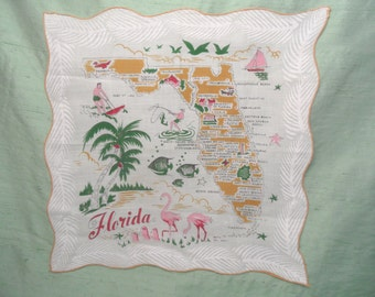 FLORIDA STATE souvenir handkerchief / flamingo , palm tree , map hankie