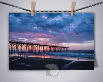 Sunrise Photography, Pier in Pink and Blue, gift for surfer, beach art, beach house decor, coastal cabin, walks on the beach, surf