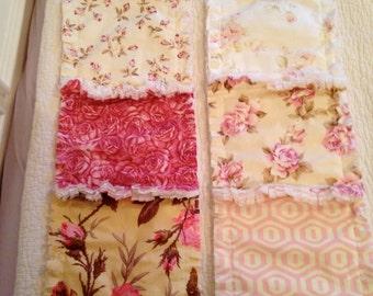 Crib Rag Quilt Style Burp Cloths, Shabby Rose Pink ONE Set of 2 Roses Shabby Chic Style Crib Bedding Baby Shower Gift Basket