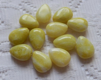 12  Lemon Lime Yellow & White Jasper Flat Teardrop Gemstone Beads  17mm x 14mm
