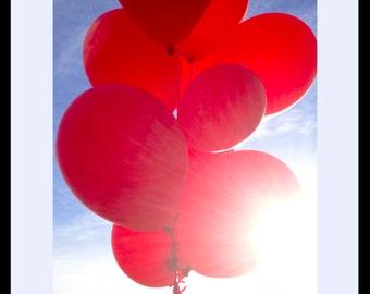 Red Balloons Fine Art Photograph, Gallery Wall Art, Room Decor, Gift, Balloon Print, Red Balloons Image, Children Art, Kid Decor, Play Image
