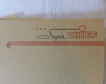 The Super Chief Passenger Train Stationary~5 Sheets and 3 Envelopes~Santa Fe Systems Lines~~Railroad Memorabilia~Santa Fe Train Travel
