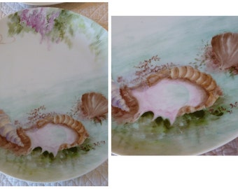 4 Vintage Handpainted Plates~~Beach Seashell Ocean Theme Plates~~Conch Shell~~Handpainted Seashells~~Handpainted Oyster & Pearl