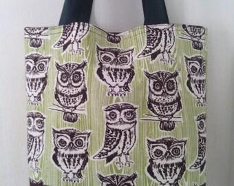 Large Brown Owls Handmade Tote