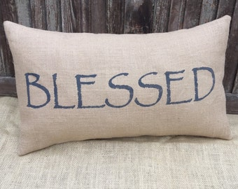 Blessed pillow cover,lumbar pillow cover 12x20,burlap pillow cover, fabric pillow cover