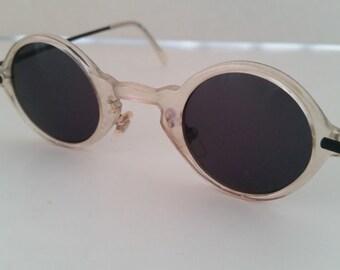 Vintage Opal Small Plastic Round Retro Sunglasses, Funky Small Round Sunglasses, Retro Round Sunglasses, Cute Round Vintage Sunglasses
