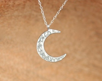 Crescent moon necklace - sterling silver moon necklace - hammered moon charm - a sterling silver moon charm on a sterling silver chain