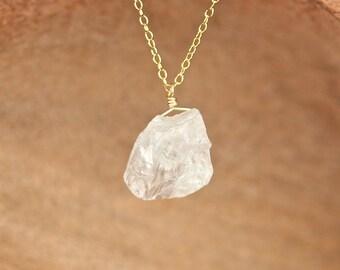 Clear quartz necklace - clear quartz necklace - healing crystal necklace - raw crystal - a rough quartz nugget on a 14k gold vermeil chain
