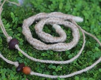 Natural Jute Twine Macrame Spiralock - custom length - original bendable dread tie since 2011