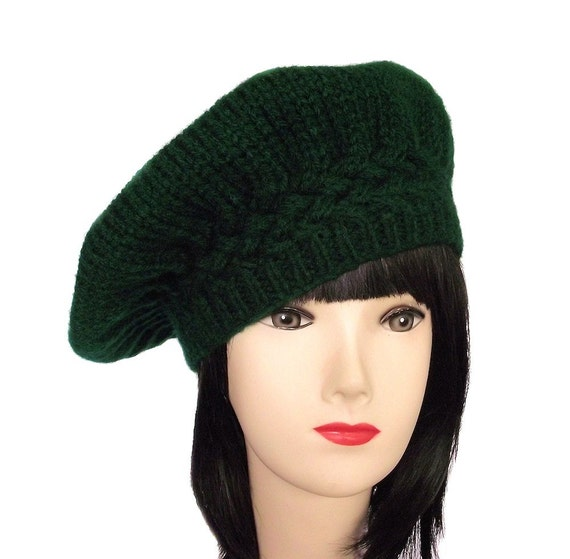 womens beret green beret knitted beret knit hat by