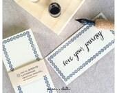 Blue Border Blank Letterpress Note Cards - Classiky