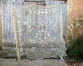 Reserved for Dushan - Deposit - Antique French cotton crochet bed cover,  or  filet curtain, floral design, white  208cm x 208cm (K)