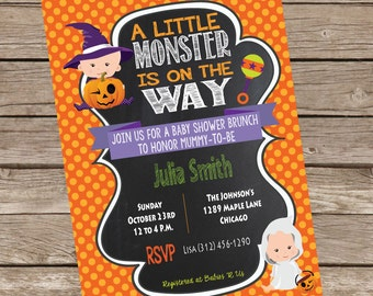 A LIttle Monster Is On The Way (Witchy) Baby Shower Invitation