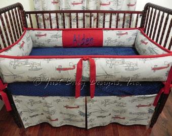 Custom Crib Bedding Set Colton Airplanes With Gray