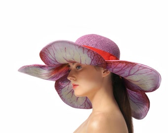 Purple Sun Hat, Floral Wide Brimmed Hat