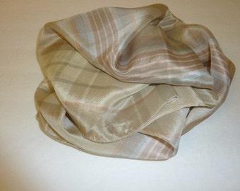 Vintage JACQUELINE FERRAR Silk Scarf Square Beige Plaid 100 Percent Silk Made in Japan Designer Signed Pastel
