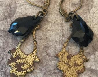 Black & Gold Baroque Dagger Earrings